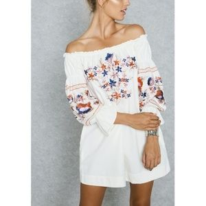 Free People Floral Embroidered Bardot Dress, XS